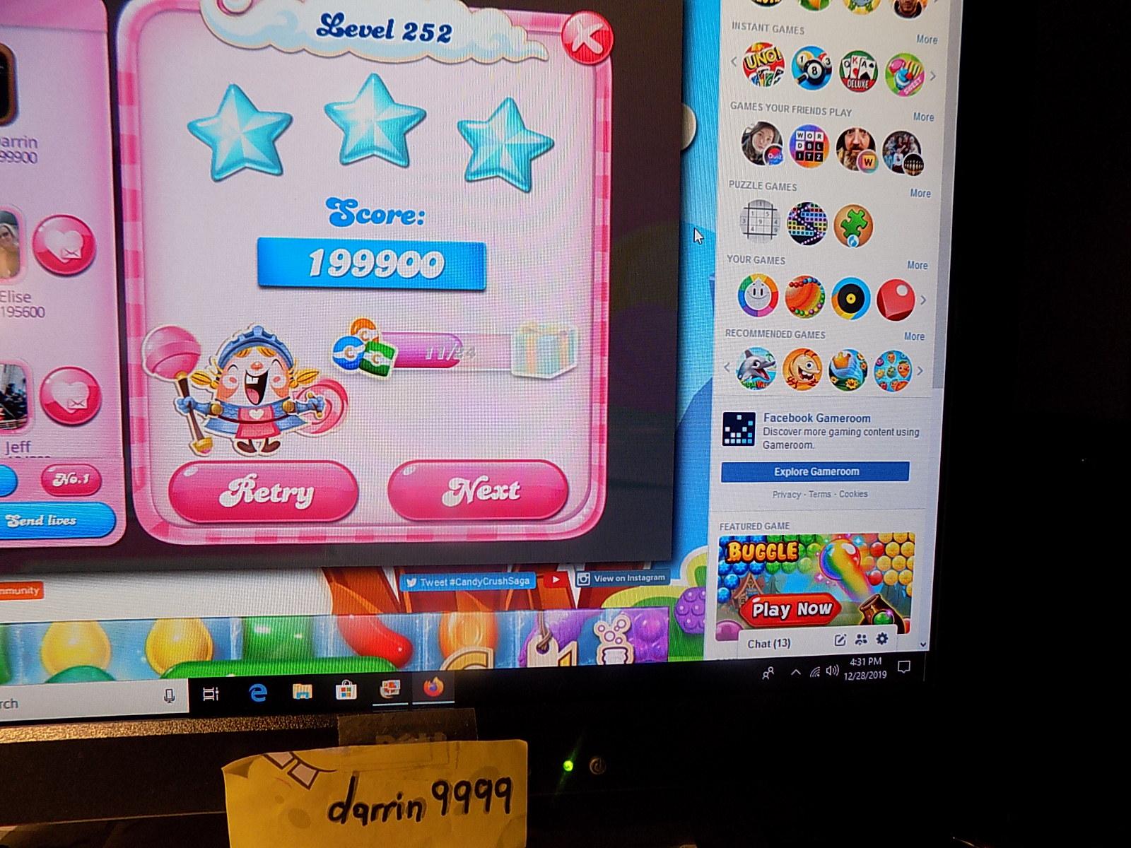 darrin9999: Candy Crush Saga: Level 252 (Web) 199,900 points on 2019-12-29 06:38:45