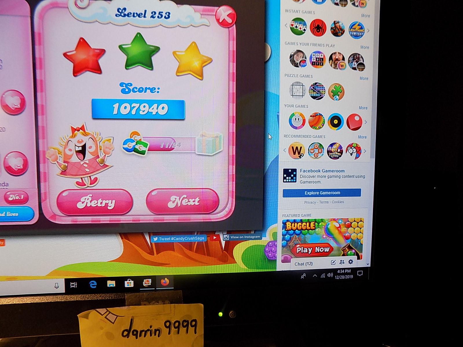 darrin9999: Candy Crush Saga: Level 253 (Web) 107,940 points on 2019-12-29 06:39:45