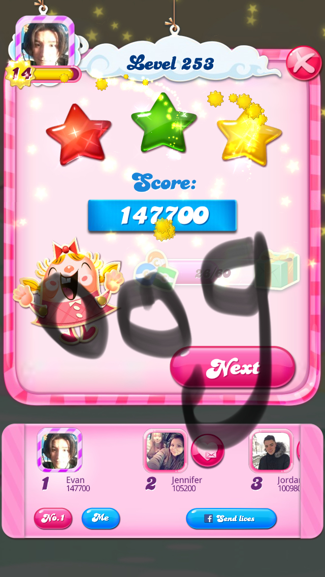 Candy Crush Saga: Level 253 147,700 points