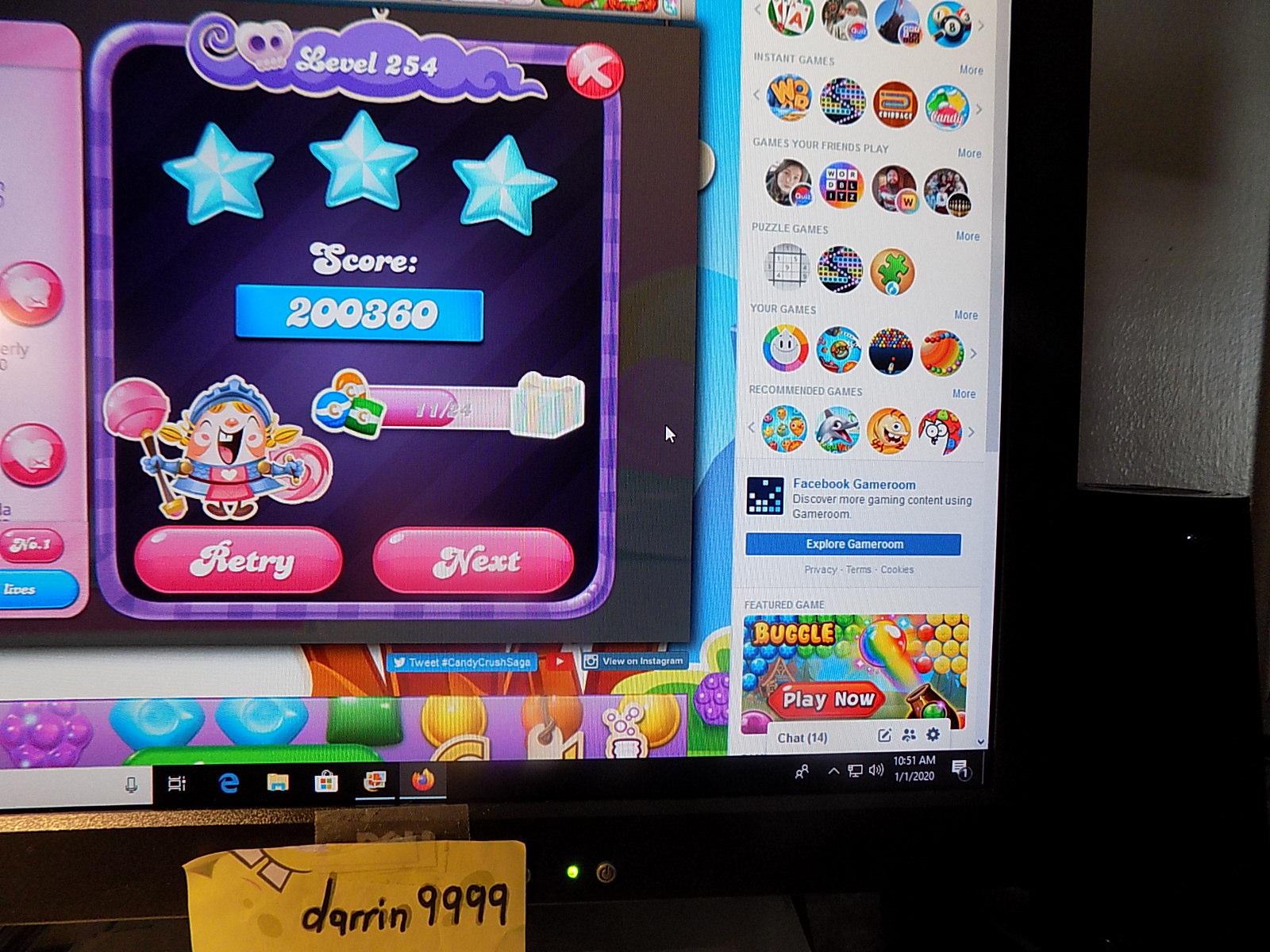 darrin9999: Candy Crush Saga: Level 254 (Web) 200,360 points on 2020-01-05 07:19:20