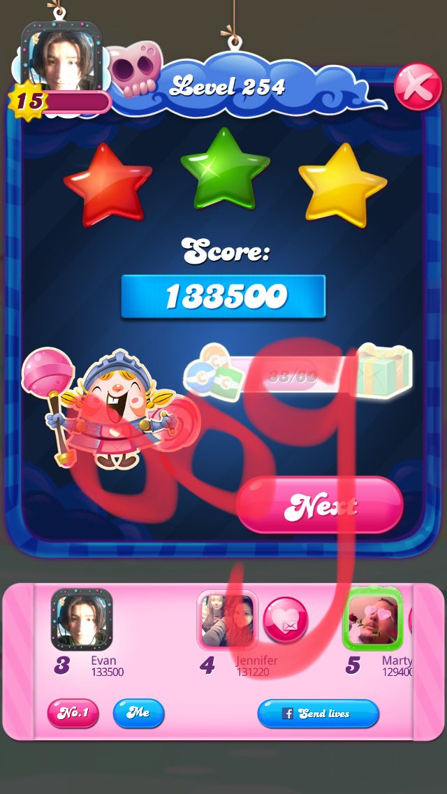 Candy Crush Saga: Level 254 133,500 points