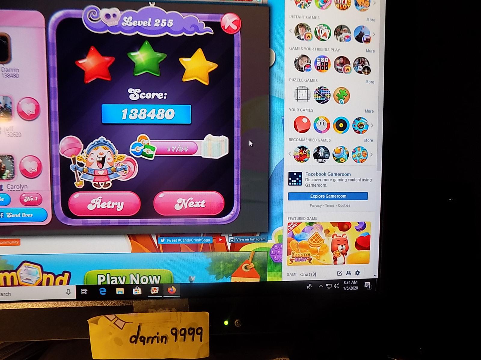 darrin9999: Candy Crush Saga: Level 255 (Web) 138,480 points on 2020-01-19 06:28:40