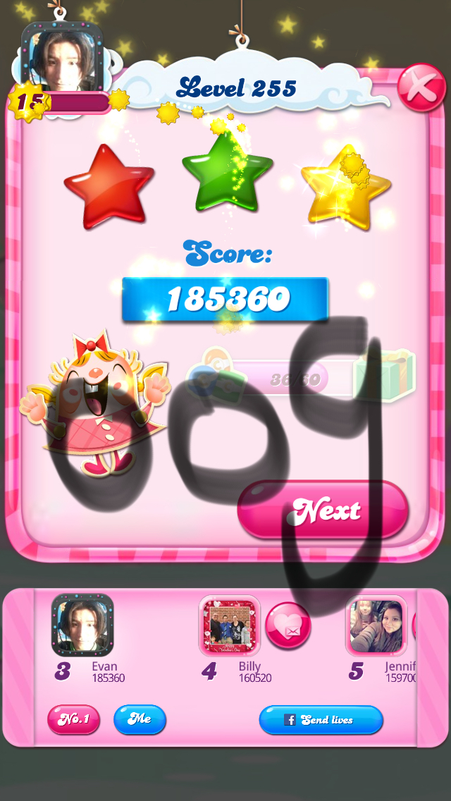 Candy Crush Saga: Level 255 185,360 points