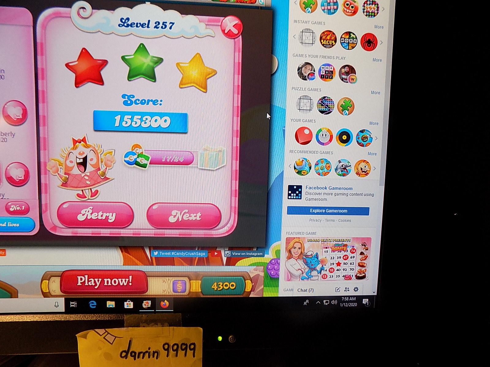 darrin9999: Candy Crush Saga: Level 257 (Web) 155,300 points on 2020-01-19 06:30:47