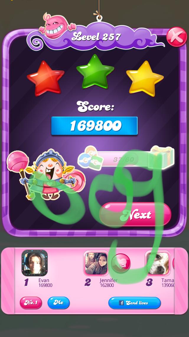 OOG: Candy Crush Saga: Level 257 (iOS) 169,800 points on 2018-03-14 22:28:02