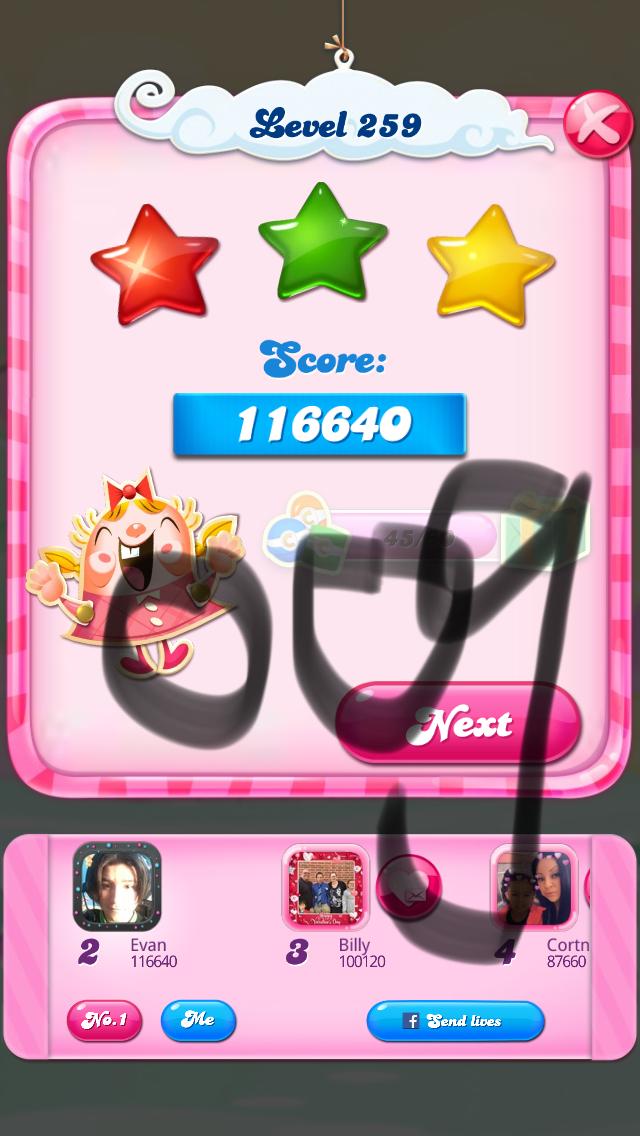 OOG: Candy Crush Saga: Level 259 (iOS) 116,640 points on 2018-03-16 04:18:13