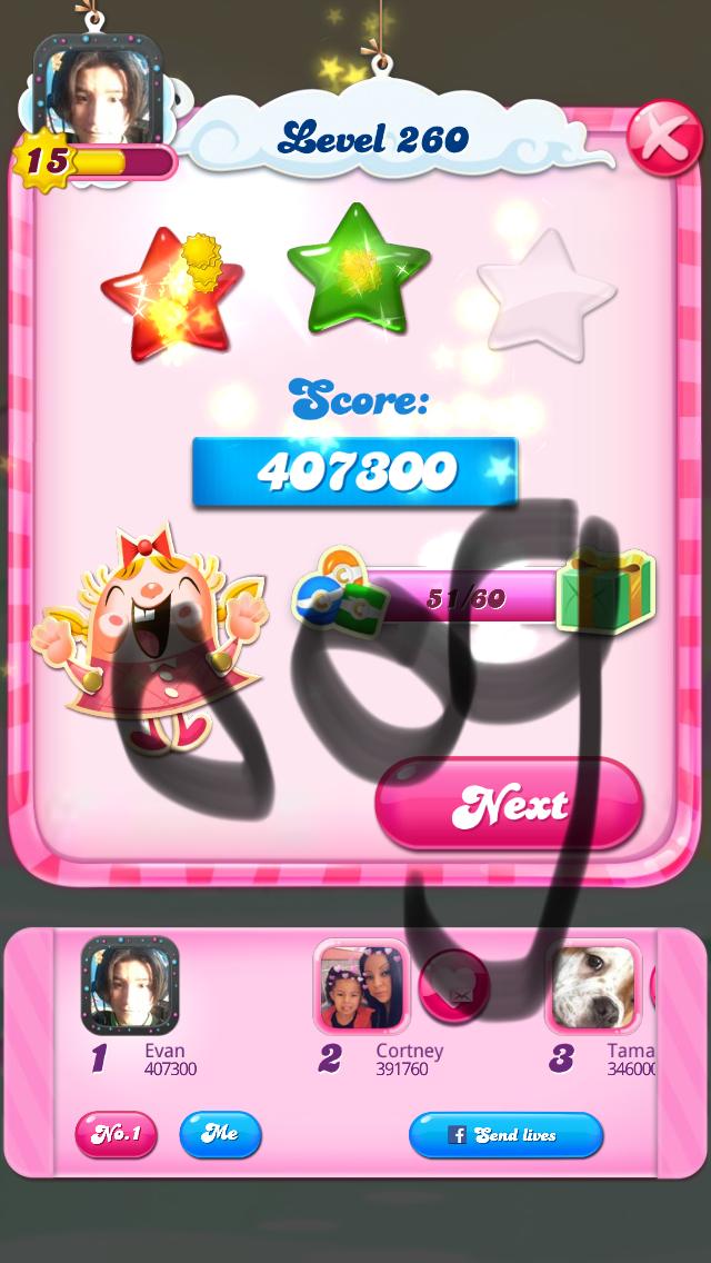 OOG: Candy Crush Saga: Level 260 (iOS) 407,300 points on 2018-03-16 04:19:19