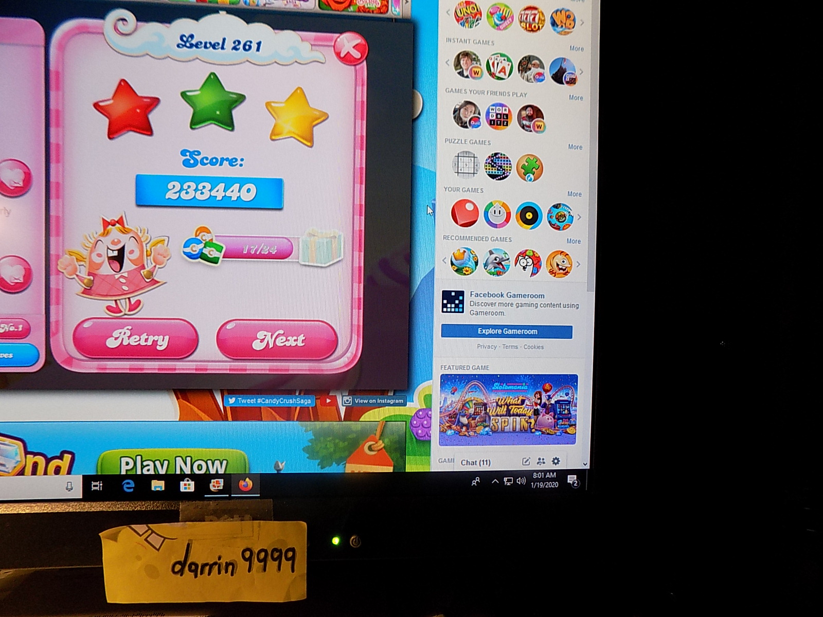 darrin9999: Candy Crush Saga: Level 261 (Web) 233,440 points on 2020-01-19 11:39:45