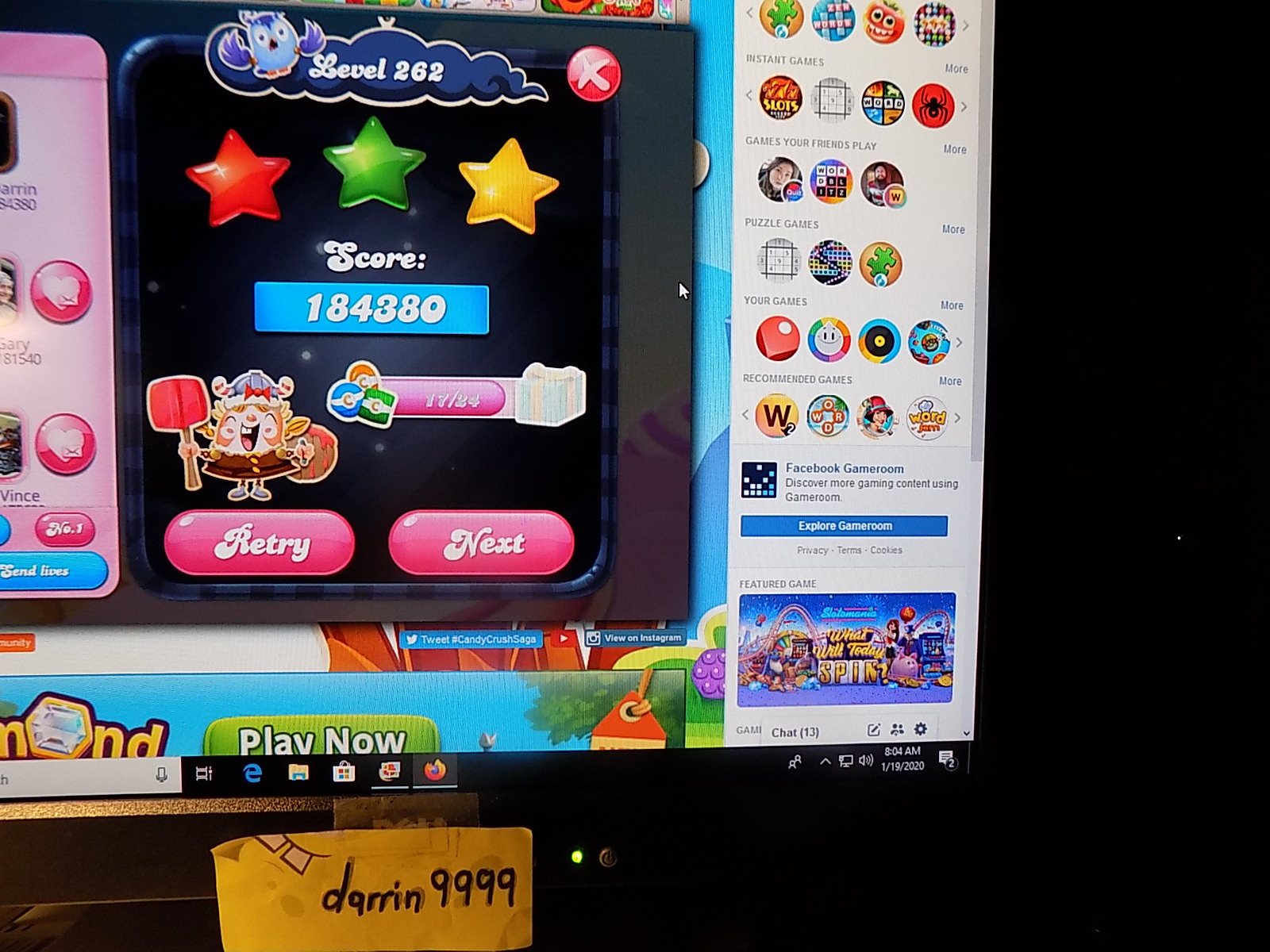 darrin9999: Candy Crush Saga: Level 262 (Web) 184,380 points on 2020-01-19 11:40:50