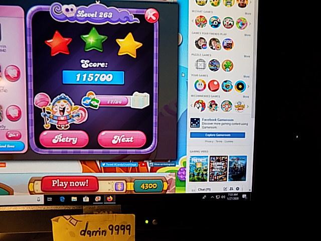darrin9999: Candy Crush Saga: Level 263 (Web) 115,700 points on 2020-02-10 06:37:53