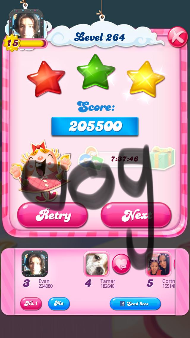 OOG: Candy Crush Saga: Level 264 (iOS) 205,500 points on 2018-03-16 04:23:08