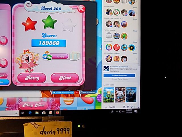 darrin9999: Candy Crush Saga: Level 266 (Web) 189,860 points on 2020-02-10 06:41:31