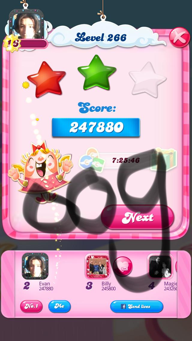 OOG: Candy Crush Saga: Level 266 (iOS) 247,880 points on 2018-03-16 04:25:31