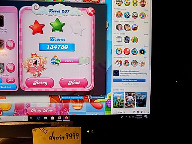 darrin9999: Candy Crush Saga: Level 267 (Web) 134,780 points on 2020-02-10 06:42:25