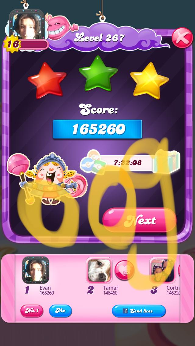 OOG: Candy Crush Saga: Level 267 (iOS) 165,260 points on 2018-03-16 04:27:04