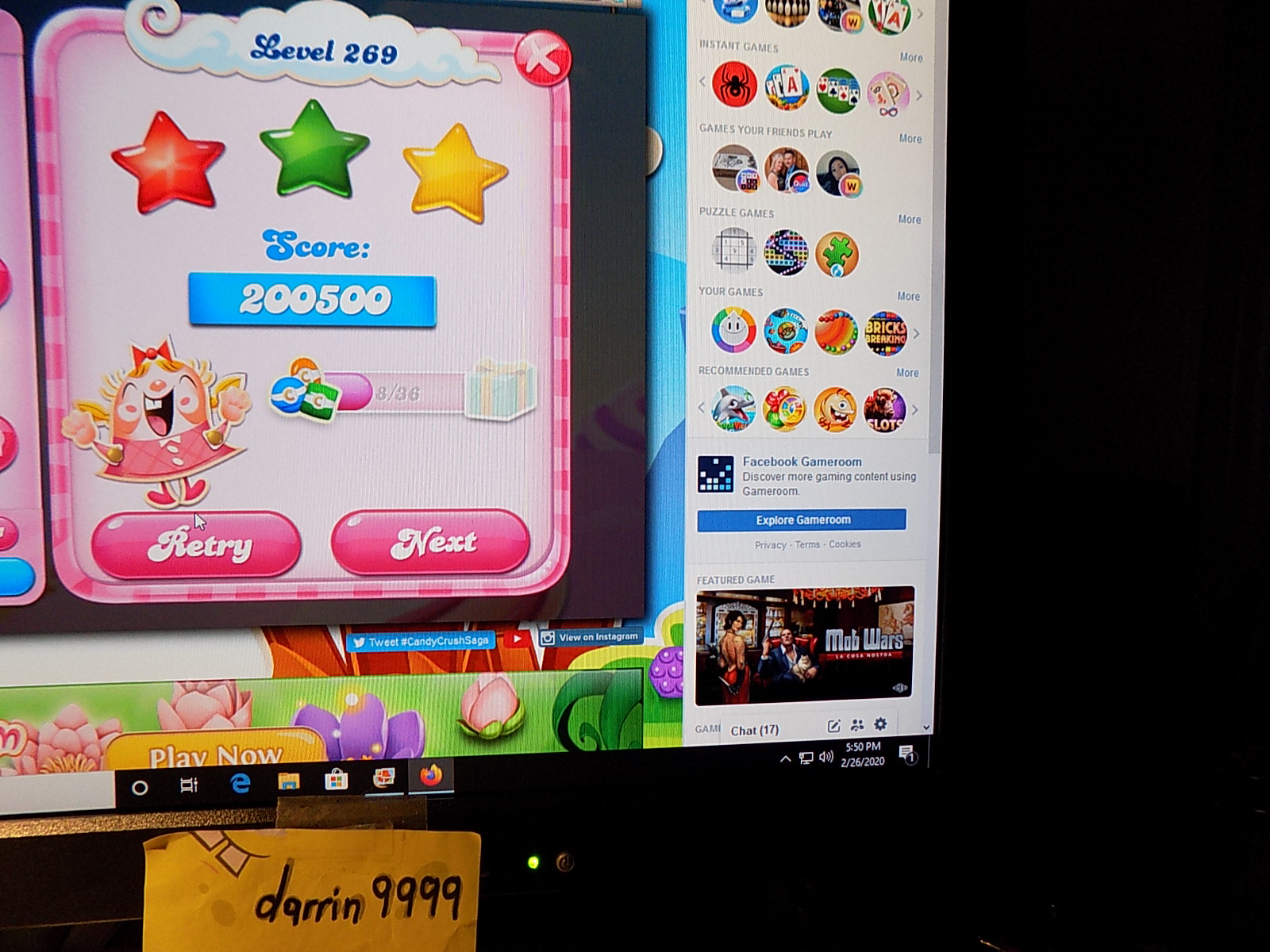 darrin9999: Candy Crush Saga: Level 269 (Web) 200,500 points on 2020-03-08 07:21:10