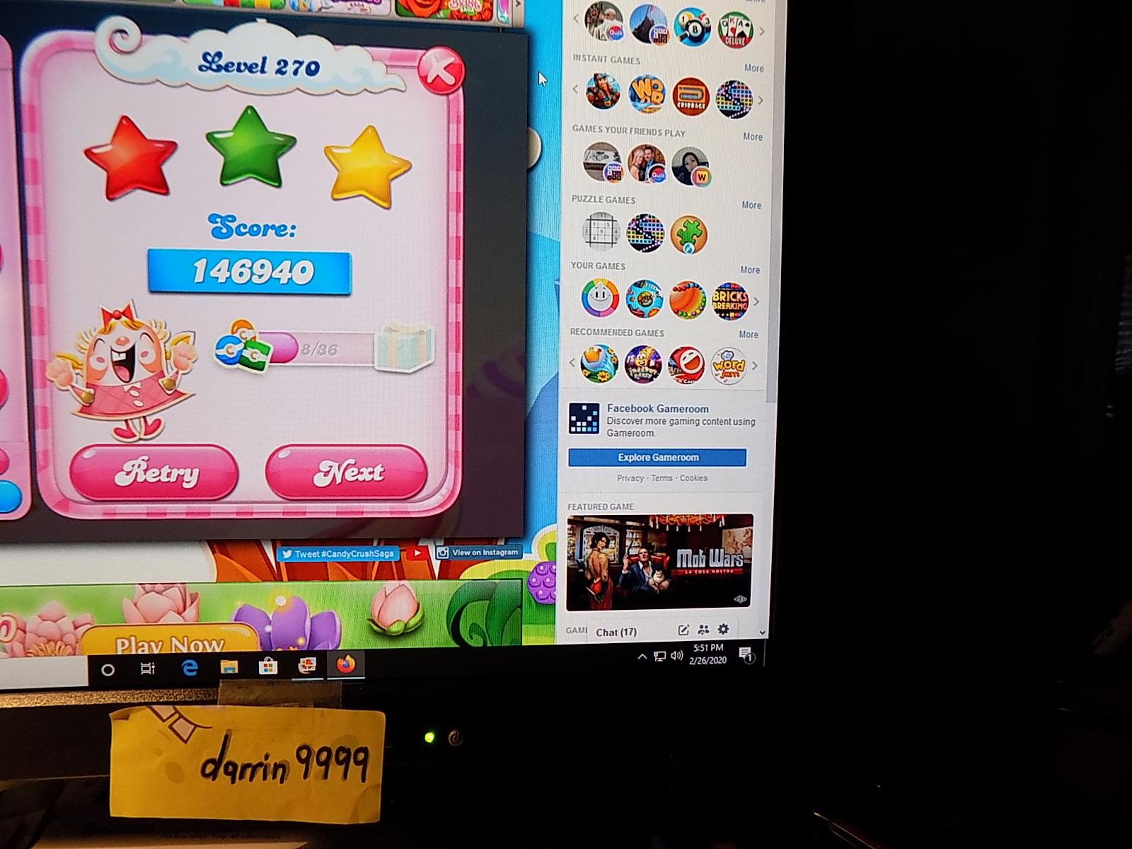 darrin9999: Candy Crush Saga: Level 270 (Web) 146,940 points on 2020-03-08 07:22:04