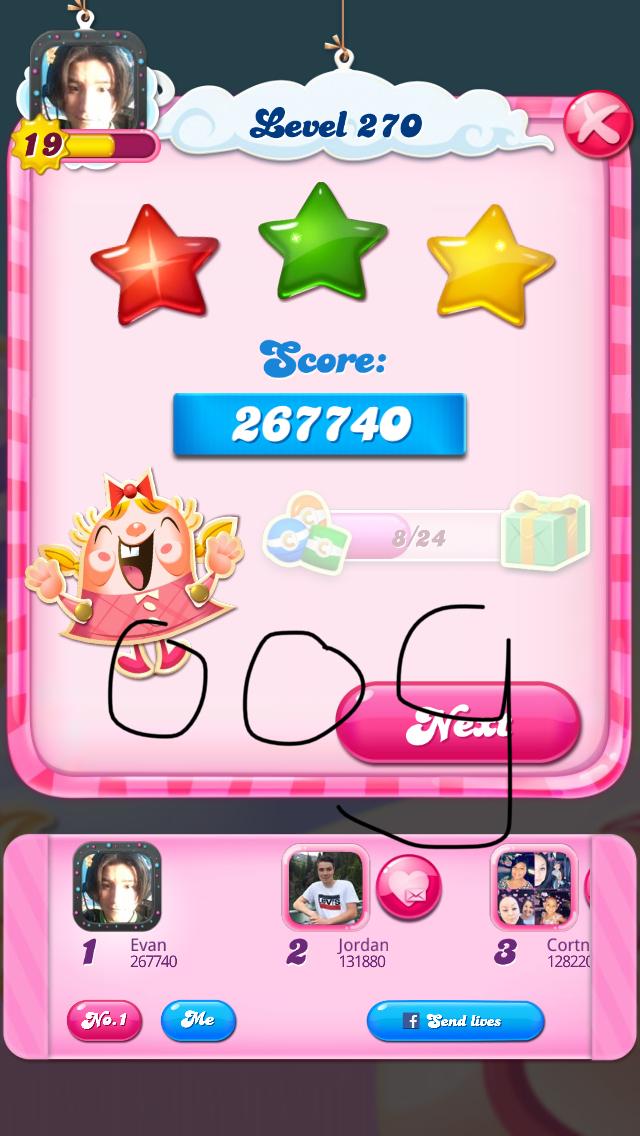 OOG: Candy Crush Saga: Level 270 (iOS) 267,740 points on 2018-08-07 04:06:08