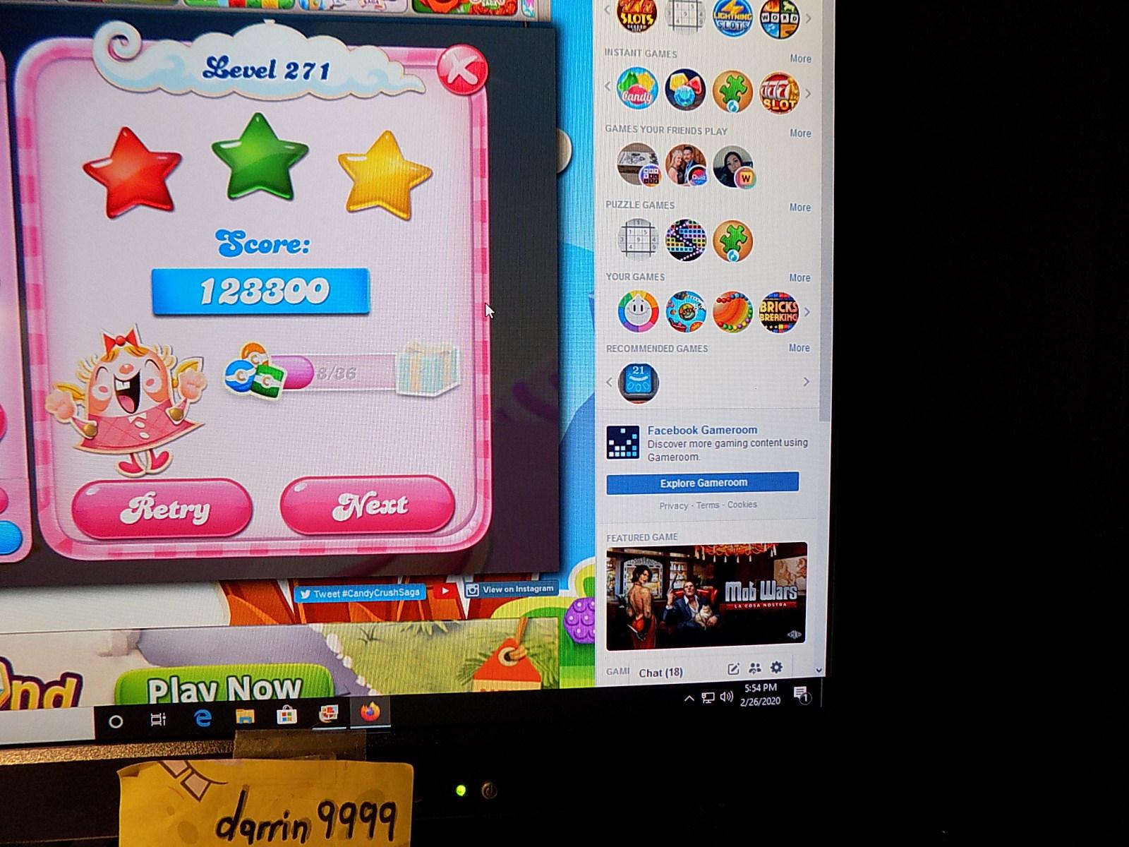 darrin9999: Candy Crush Saga: Level 271 (Web) 123,300 points on 2020-03-08 07:23:19