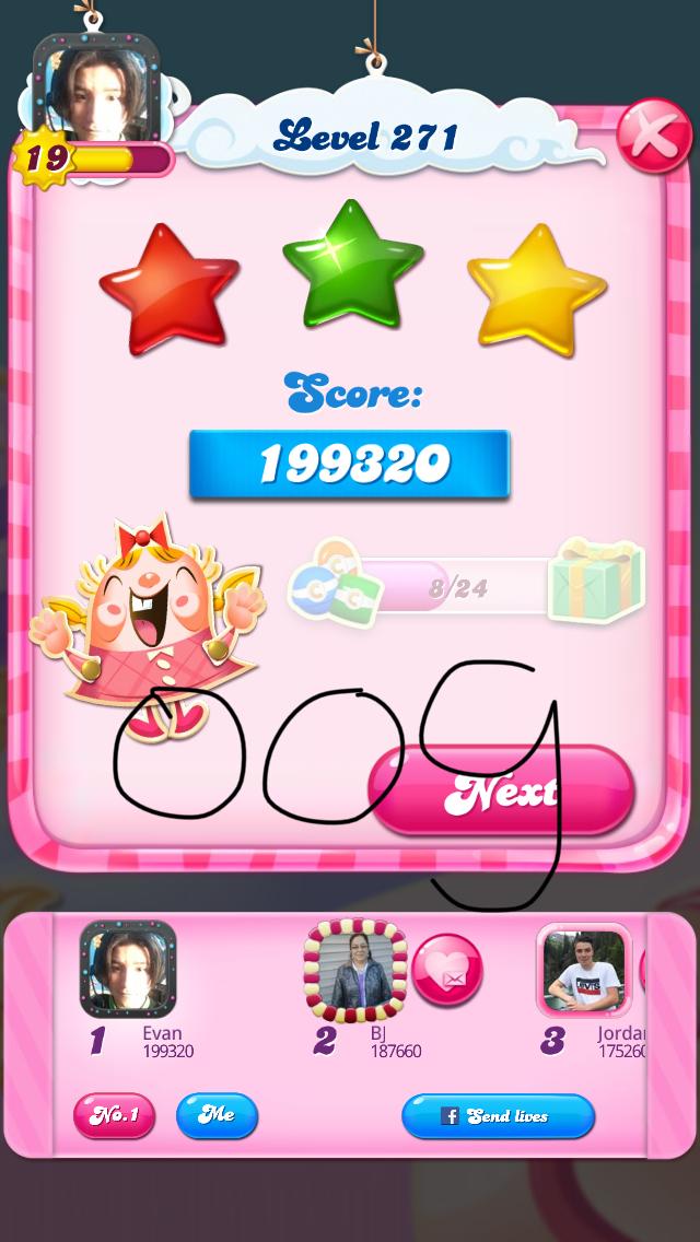 OOG: Candy Crush Saga: Level 271 (iOS) 199,320 points on 2018-08-07 04:07:16