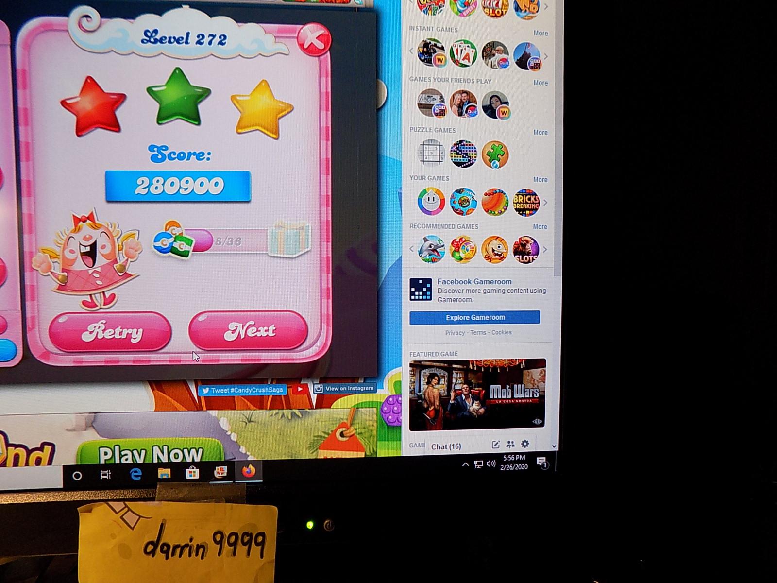 darrin9999: Candy Crush Saga: Level 272 (Web) 280,900 points on 2020-03-08 07:24:15
