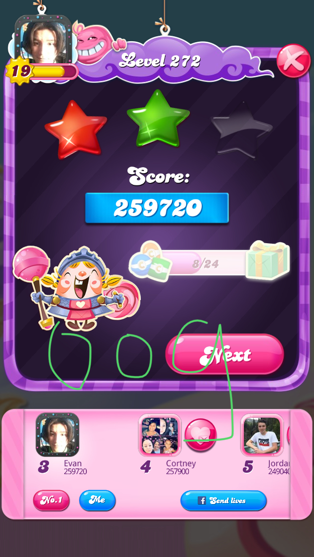 OOG: Candy Crush Saga: Level 272 (iOS) 259,720 points on 2018-08-07 04:08:20