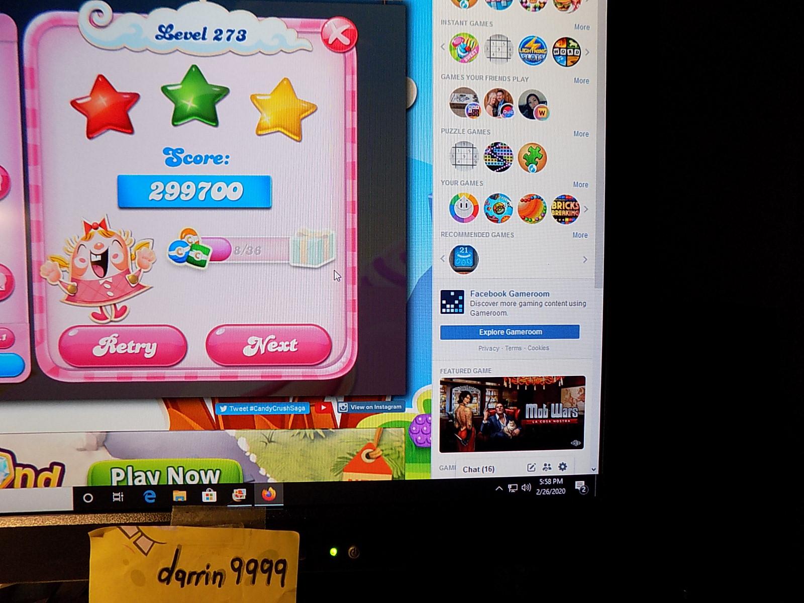 darrin9999: Candy Crush Saga: Level 273 (Web) 299,700 points on 2020-03-08 07:25:00