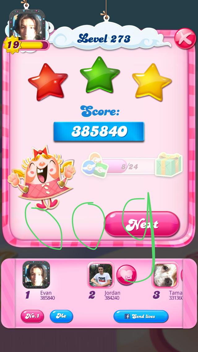 OOG: Candy Crush Saga: Level 273 (iOS) 385,840 points on 2018-08-07 04:09:25
