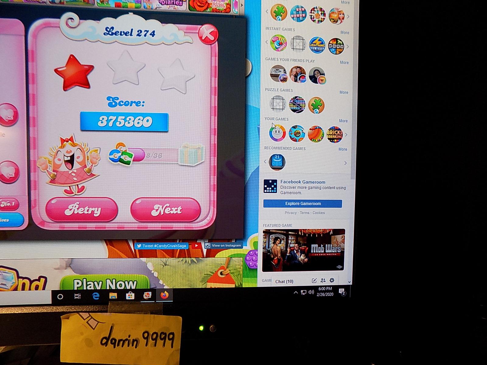 darrin9999: Candy Crush Saga: Level 274 (Web) 375,360 points on 2020-03-08 07:25:49