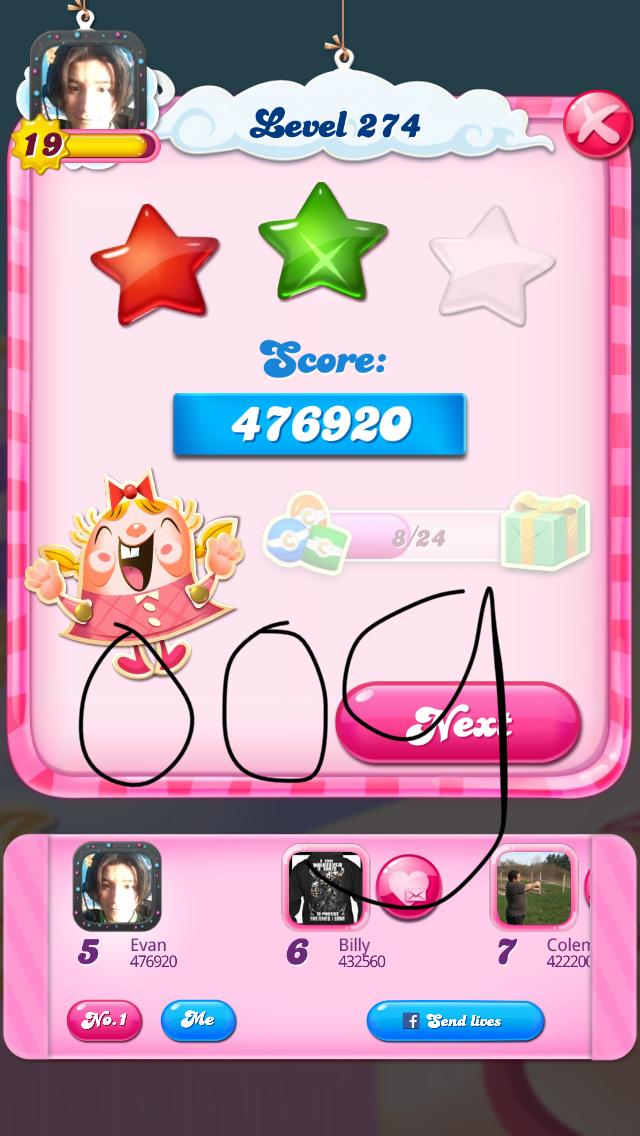 OOG: Candy Crush Saga: Level 274 (iOS) 476,920 points on 2018-08-07 04:13:32