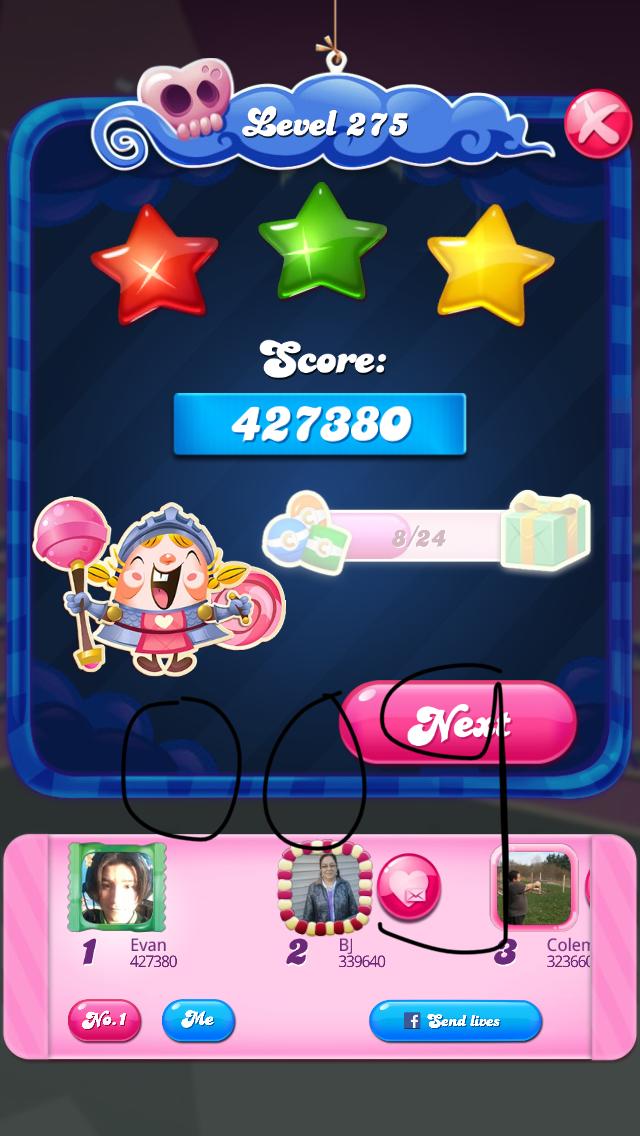 OOG: Candy Crush Saga: Level 275 (iOS) 427,380 points on 2018-08-07 04:15:09