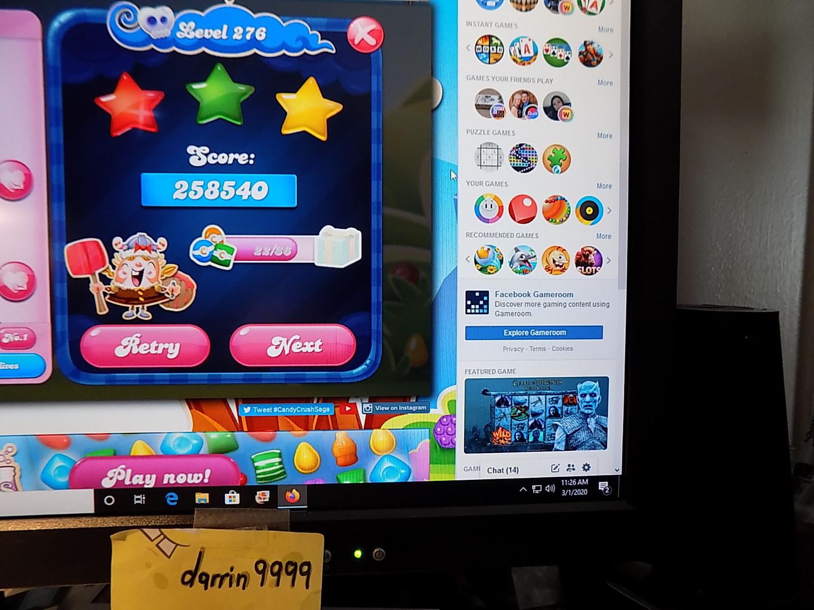 darrin9999: Candy Crush Saga: Level 276 (Web) 258,540 points on 2020-03-08 07:27:43