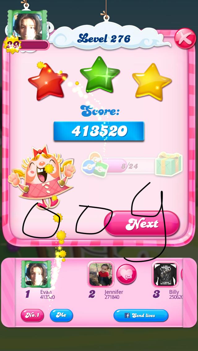 OOG: Candy Crush Saga: Level 276 (iOS) 413,520 points on 2018-08-07 04:16:07
