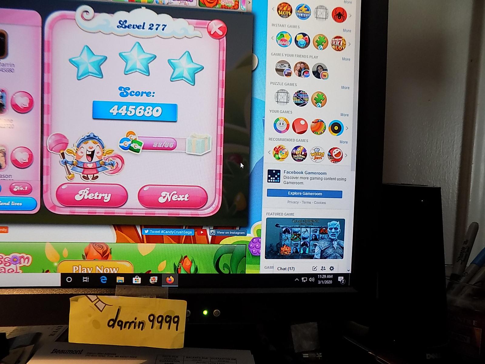darrin9999: Candy Crush Saga: Level 277 (Web) 445,680 points on 2020-03-08 07:28:43
