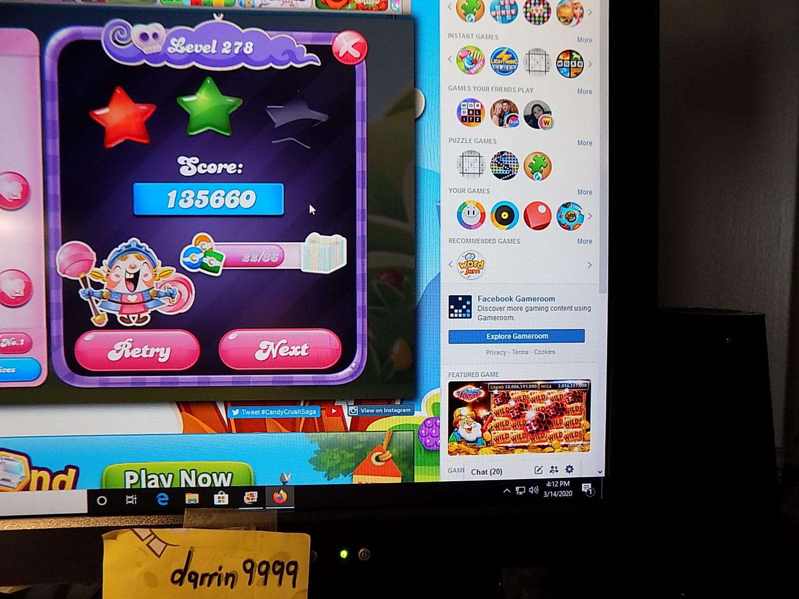 darrin9999: Candy Crush Saga: Level 278 (Web) 135,660 points on 2020-04-20 06:35:17