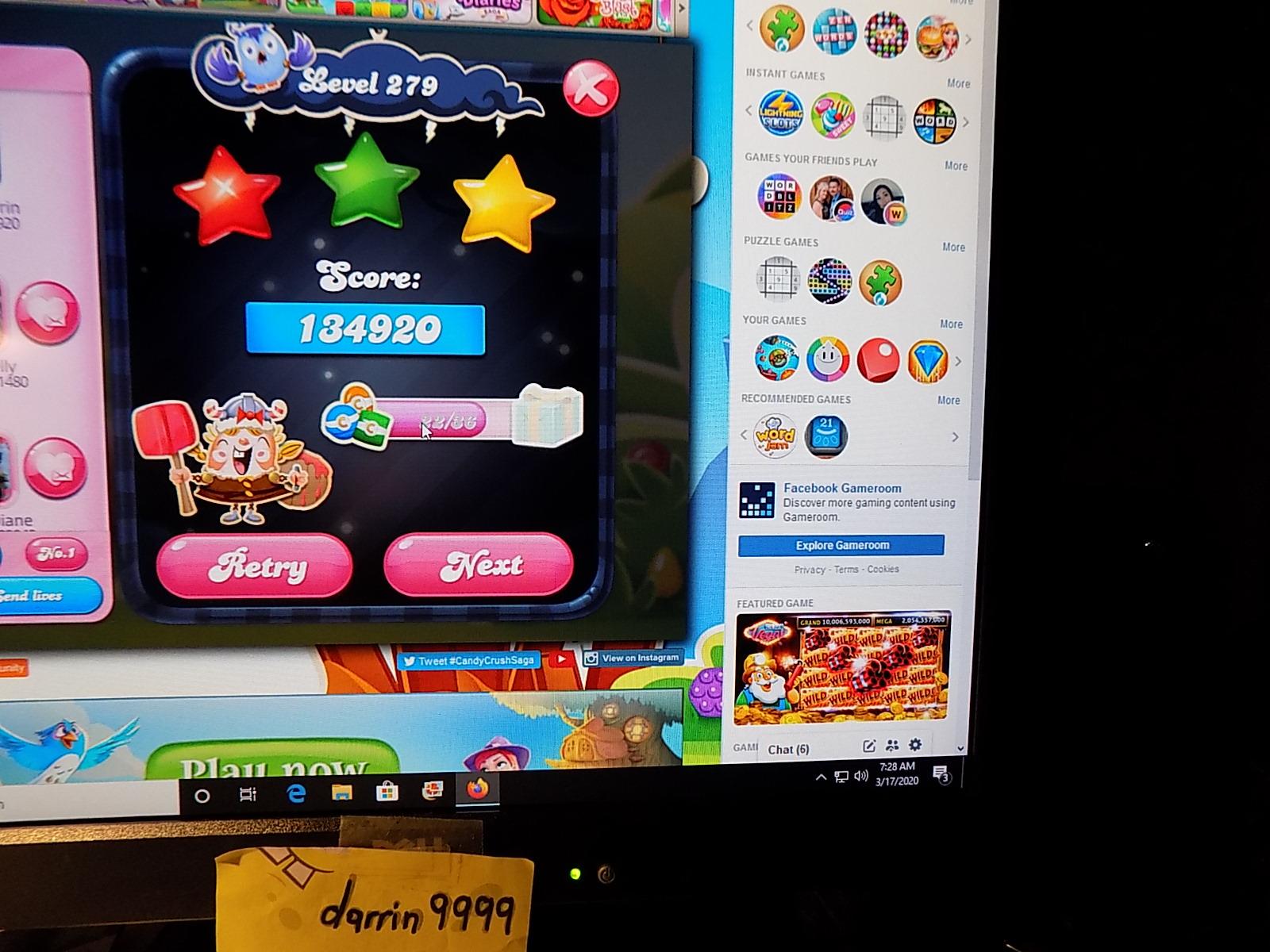 darrin9999: Candy Crush Saga: Level 279 (Web) 134,920 points on 2020-04-20 06:36:55