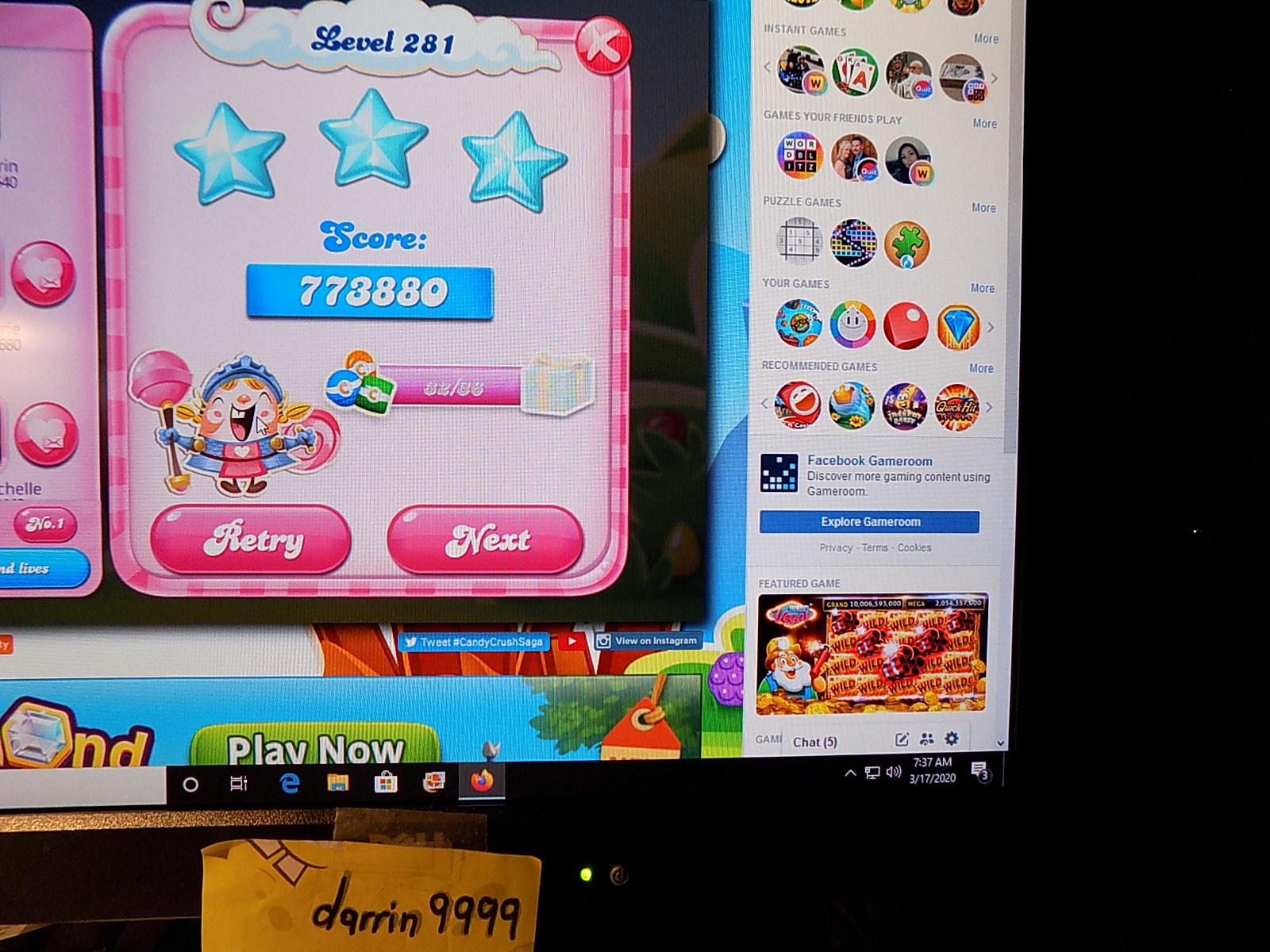 darrin9999: Candy Crush Saga: Level 281 (Web) 773,880 points on 2020-04-20 06:40:46