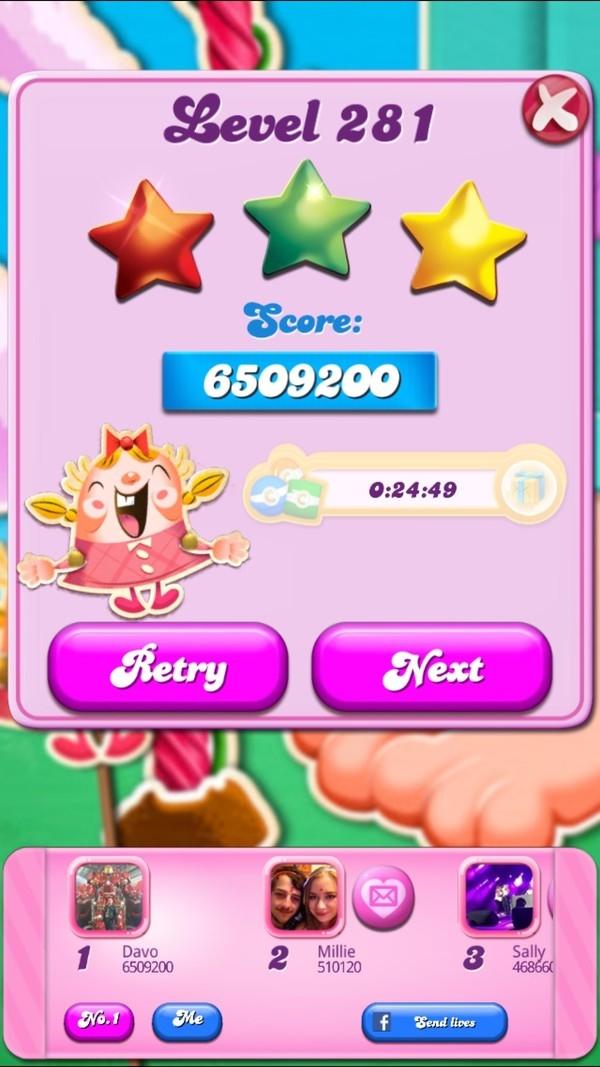 Candy Crush Saga: Level 281 6,509,200 points