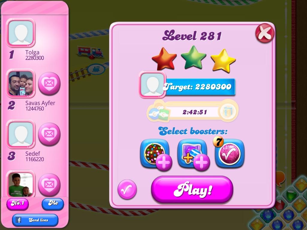 Candy Crush Saga: Level 281 2,280,300 points