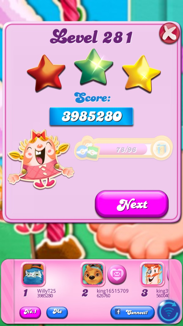 Candy Crush Saga: Level 281 3,985,280 points