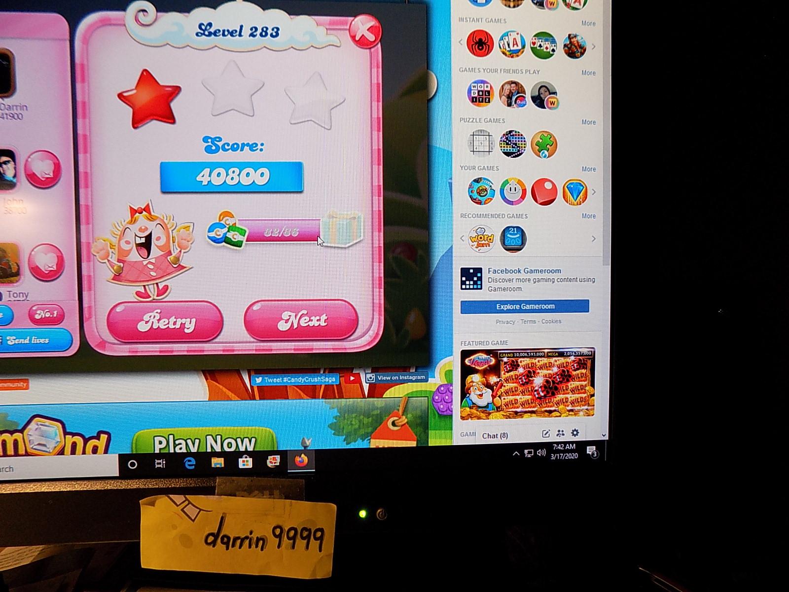 darrin9999: Candy Crush Saga: Level 283 (Web) 40,800 points on 2020-05-10 06:50:33
