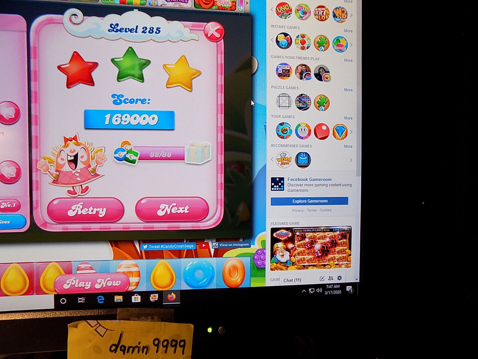 darrin9999: Candy Crush Saga: Level 285 (Web) 169,000 points on 2020-05-10 06:52:39