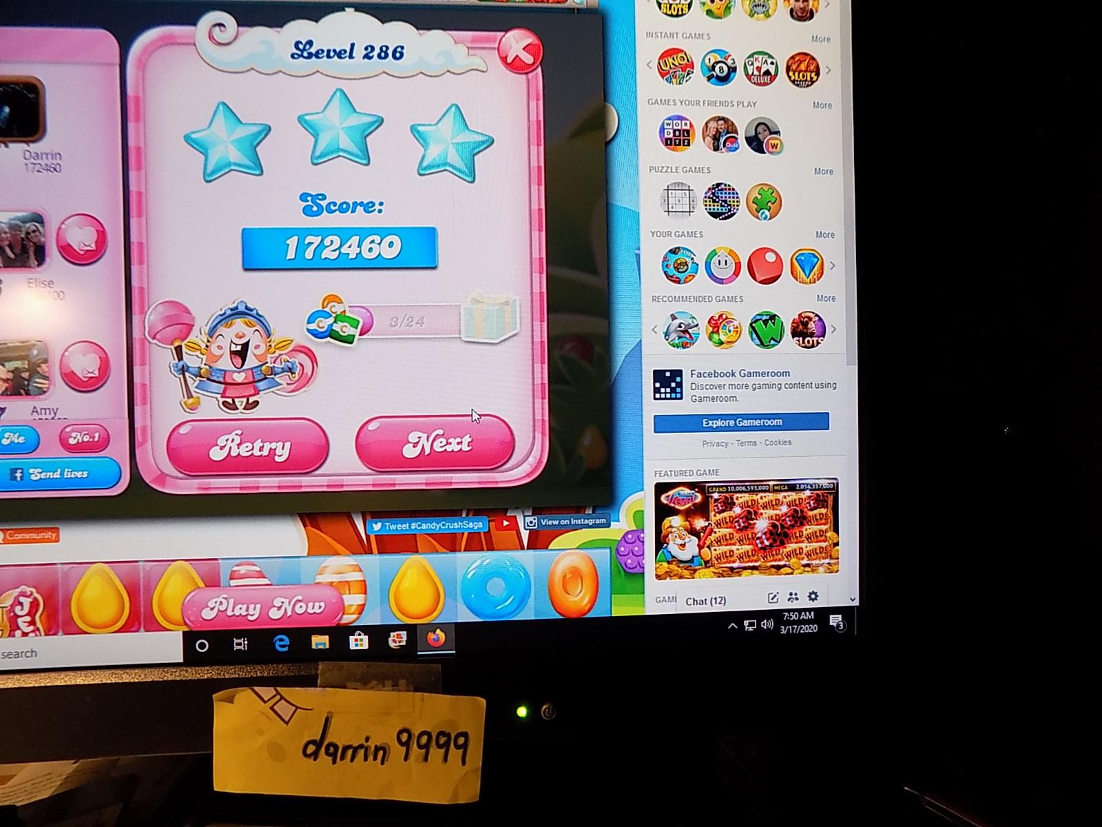 darrin9999: Candy Crush Saga: Level 286 (Web) 172,460 points on 2020-05-10 06:53:43