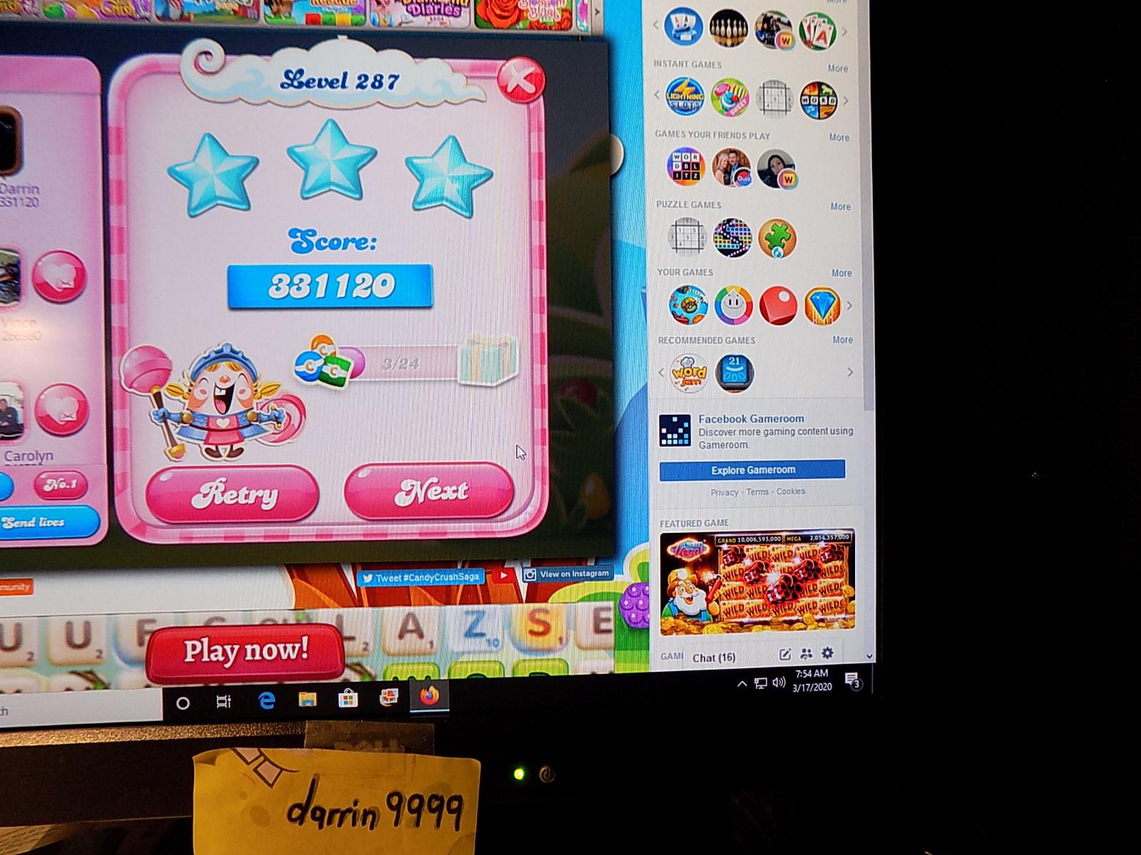 darrin9999: Candy Crush Saga: Level 287 (Web) 331,120 points on 2020-05-10 06:54:54