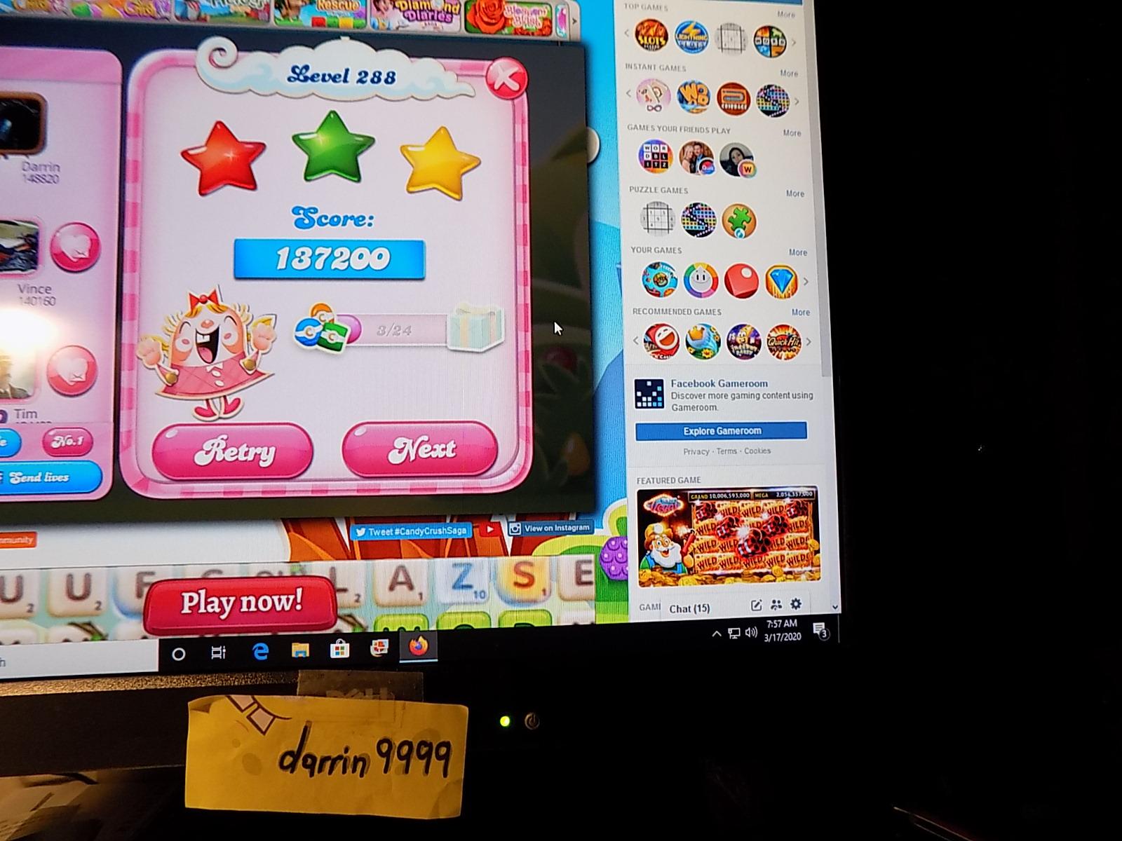 darrin9999: Candy Crush Saga: Level 288 (Web) 137,200 points on 2020-05-10 06:56:04