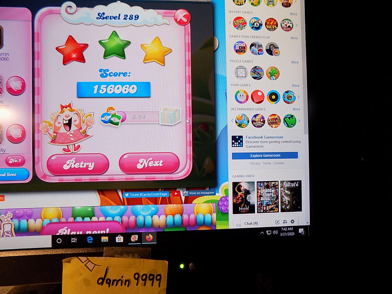 darrin9999: Candy Crush Saga: Level 289 (Web) 156,060 points on 2020-05-10 06:57:04