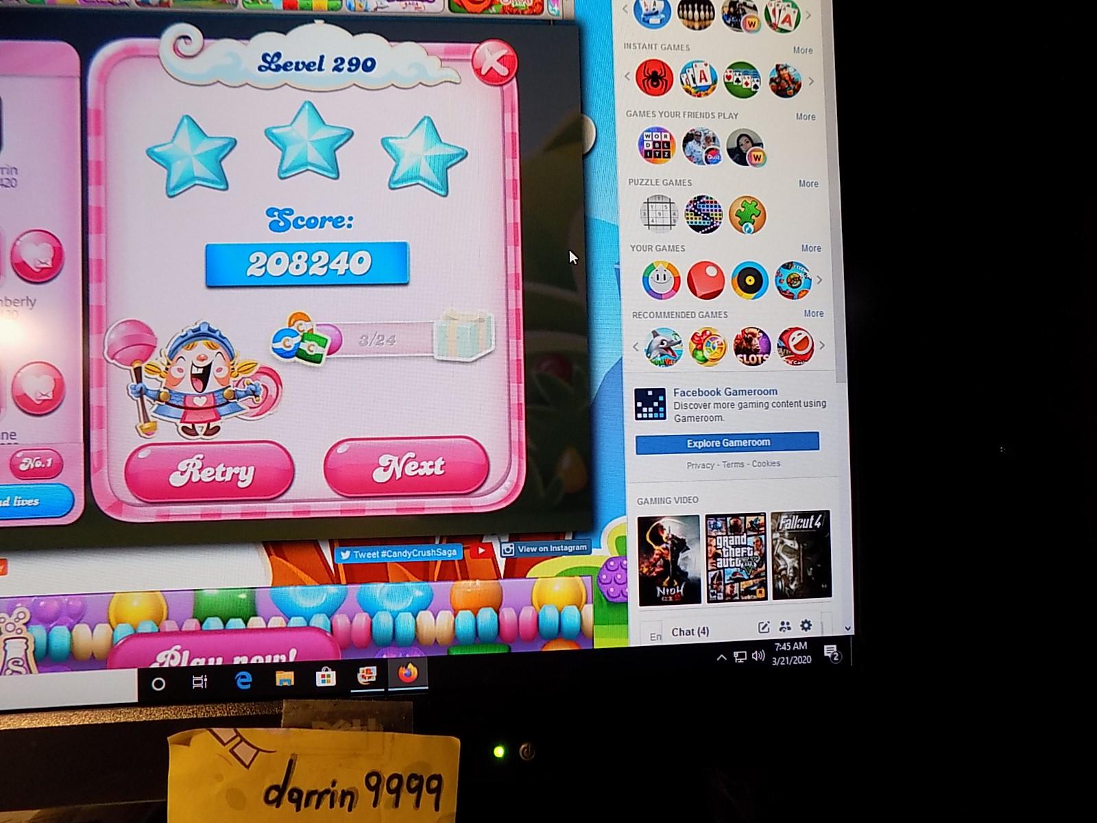 darrin9999: Candy Crush Saga: Level 290 (Web) 208,240 points on 2020-05-10 06:58:02