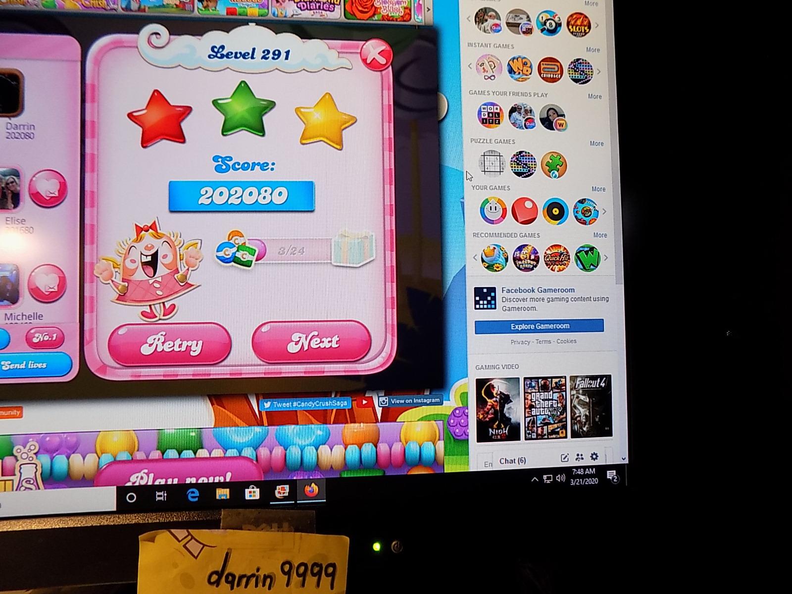 darrin9999: Candy Crush Saga: Level 291 (Web) 202,080 points on 2020-05-10 06:59:15