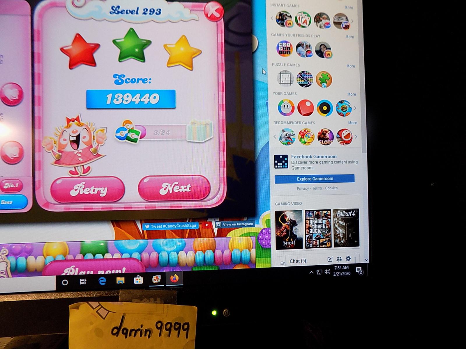 darrin9999: Candy Crush Saga: Level 293 (Web) 139,440 points on 2020-05-10 07:02:05