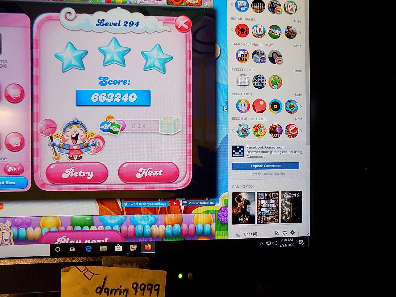 darrin9999: Candy Crush Saga: Level 294 (Web) 663,240 points on 2020-05-10 07:03:25